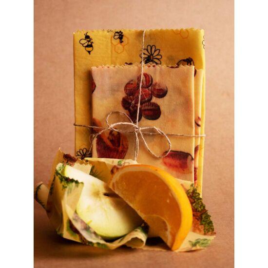 Méhviaszos élelmiszer csomagoló kendő 3 db/csomag
